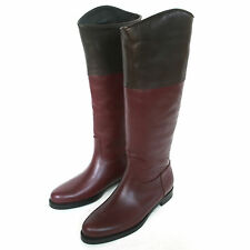 JIL SANDER $1,050 wine purple brown Osaka calf leather riding boots 6/36 NEW