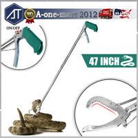 "47"" Stainless Steel Snake Tongs Heavy Duty Reptile Grabber Catcher Stick w/ Lock"