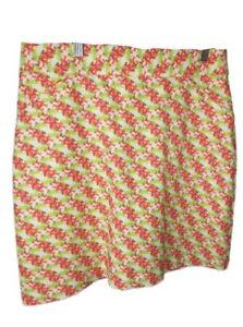 Peter Millar NWOT Golf Skort Skirt/Short  Size 4 Pink White Green Flower Stretch