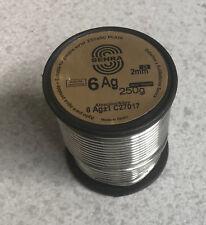 250 gr 1 bobina Soldadura Estaño Plata Sn94 Ag6 2,0mm DIN1707L uso Agua Potable