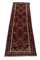 Feiner Hamadan Läufer 294 x 87 cm handgeknüpft Orient Teppich Perser, Rot, Neu