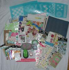 Large Lot Scrapbooking Paper Gems Stickers Stencils Punches Borders Wide Variety
