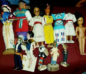 """Vtg.CELLULOID Carlson American Indian 7"""" DOLLS +More LOT PLUS PARTS"""