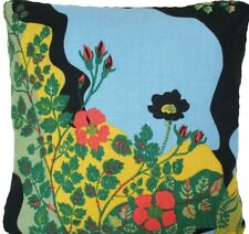Black Cushion Cover Floral Printed Heavy Linen Fabric High End Square 16""