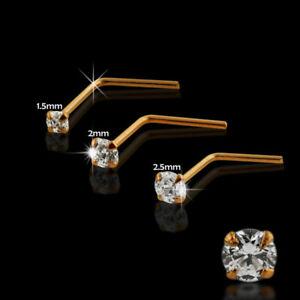 9ct k carat solid Rose Gold 1.5, 2, 2.5 or 3 mm Crystal  L Shaped Nose Stud