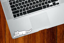 "CLR:TP - Sleeping Smiling Cat - Vinyl Trackpad Decal ©2016 YYDC (3.8""w x 1"