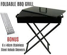 80cm Large Portable Foldable Folding Charcoal Wood BBQ Grill Camping Picnic
