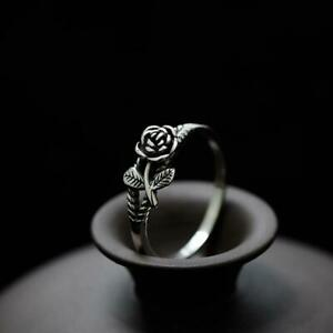Women Fashion Charm Alloy Rose Flower Ring Jewelry Wedding Rings Gifts