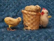Vintage Easter Peeps Chicken Hen in wicker Basket Made In Japan