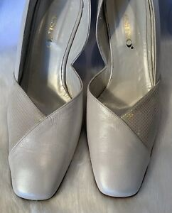 ESINO Italian Ivory Contrast shimmer design Leather Court Shoe Size UK8(41)D