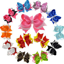 "4.5"" Hair Bow Clips Grosgrain Ribbon Boutique bows For Girls Babies Teens Kids"