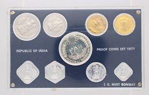 VERY RARE 1971 REPUBLIC OF INDIA 9 COIN PROOF SET IN MINT PLASTIC CASE