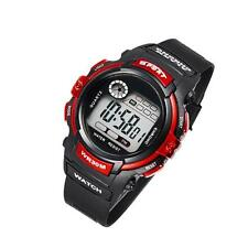 New Unisex Watch Fashion Electronic Resin Sports Waterproof  Kids Black Red SQ
