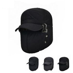 Waterproof Mens Trapper Winter Hat Face Mask Warm Russian Trooper Snow Ski Cap