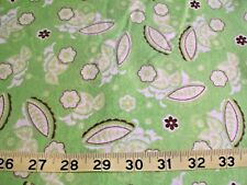 "#925 Green & yellow leaf flower print Flannel Material New fabric 21"" x 41"""