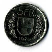 Moneda Suiza 1975 5 francos suizos coin Helvetia