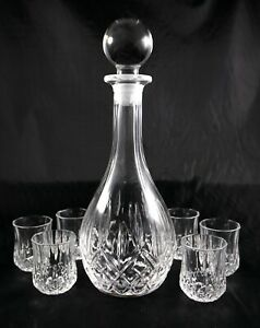 Lovely Lead Crystal Liqueur decanter and 6 glass set - shot spirits