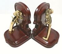 Vintage Brass & Wood Bookends Violin Shaped Music Themed