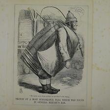 """Ponche de dibujos animados 7x10"""" 1850 bosquejo de un general Haynau más notables de pulgas"""