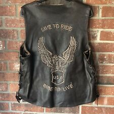 Mens Brown Xelement LIVE TO RIDE Leather Vest Embossed Side Lace 2XL XXL