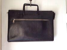 Vintage Black Leather Portfolio Document Case, Made in England handles