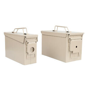 RC Tan Waterproof Ammo Box Set - 30 and 50 Cal Large Ammo Storage Containers