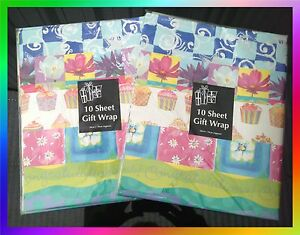 20 Sheets of Gift Wrap Paper Party Anniversary Congratulations Cupcakes Flowers
