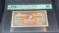 PMG Graded Bermuda/British Administration P18a 1952 5shillings Banknote XF40