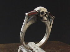 MySacrum SKULL RING ENGAGEMENT REAL GARNET