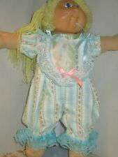 "Adorable Cabbage Patch NO Doll 16 "" Vtg Fabric Aqua Precious Moments Romper"