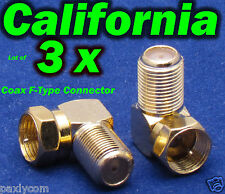Lot 3x Coax F-Type Right Angle adapter M-F Connector RG6 RG59 LNB TV 90 degree