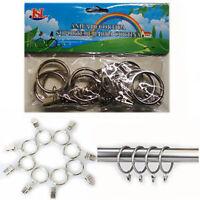 10* Curtain Pole Rings + Clips Quality SILVER Metal Rail Bracket Rod Ring Hooks