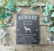 Divertente attenzione al cane BOXER ARDESIA Cancello Porta Placca Firmare