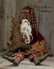 PATTERN Extreme Primitive Black Santa Claus Doll & Christmas Tree Ornie Doll