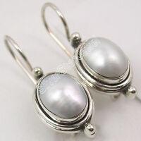 "WHITE Earrings ! 925 Sterling Silver FRESH WATER PEARL OXIDIZED Jewelry 1"""
