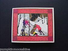 Vintage Art Deco Pochoir Xmas Greeting Card, The Uphill Battle, Unused, Stunning