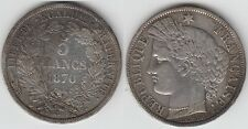 +Gertbrolen+ 5 FRANCS Argent  Gouvernement Cérès Défense Nationale 1870 Paris