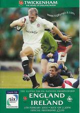 England v  00004000 Ireland 2000 Rugby Programme 5 February - Twickenham