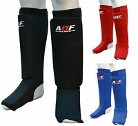 AQF Shin Instep Pads MMA Leg Foot Guards Muay Thai Kick Boxing Protector Multi