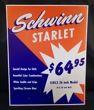 "** SCHWINN STORE DISPLAY SIGN ORIGINAL STARLET BIKE 14"" x 10¾"" **"