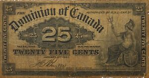 Dominion Of Canada Twenty-five Cents Currency Banknote 1900 25c