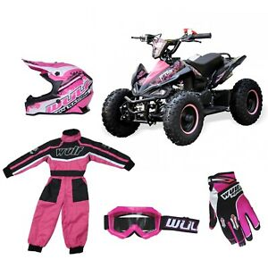 """Kids Quad Bike Falcon 49cc Big 6"""" Tubeless Wheel Safety switch PACKAGE PINK"""