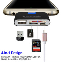 USB C Type C to USB 3.0 OTG HUB Adapter & SD/TF Micro SD Memory Card Reader