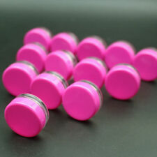 100 Empty round Sample Lip Balm Tiny Container Plastic Mini Bottle Jar hot pink