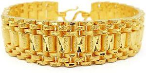 "Men's Band Bracelet Classic 22K 24K Thai Baht Yellow Gold Plated 7.5"" Jewelry"