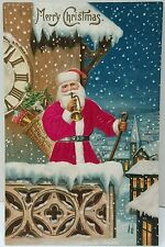 Christmas Silk Santa Claus Postcard Embossed ca.1910 Balcony of Clock Tower Bldg