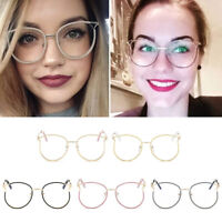 Fashion Women Round Frame Glasses Metal Frame Eyeglasses Clear Lens Eyewear