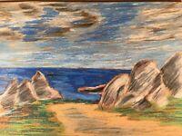 Weg zum Meer Strand Ufer Felsen Expressiv Anonym 35 x 50 Modern Art