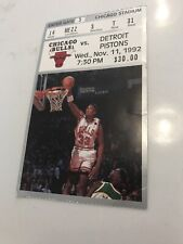 Chicago Bulls 1992 Ticket Chicago Stadium vs. Detroit Pistons