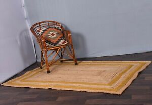 handwoven rectangle rug beautiful jute rug beige color & yellow border jute rug
